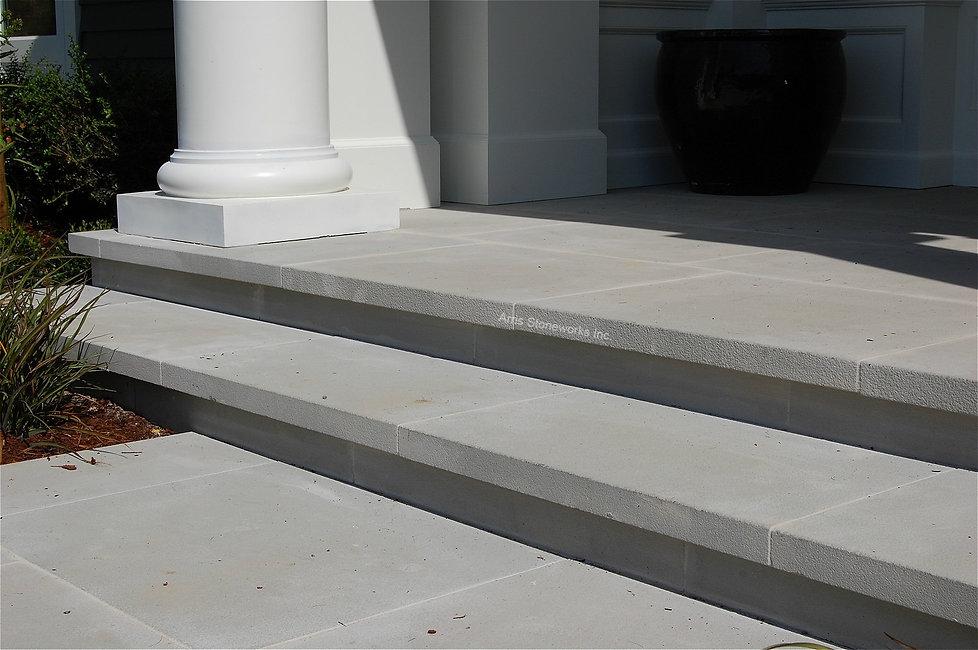 stone pool coping, sandblasted finish, light beige stone