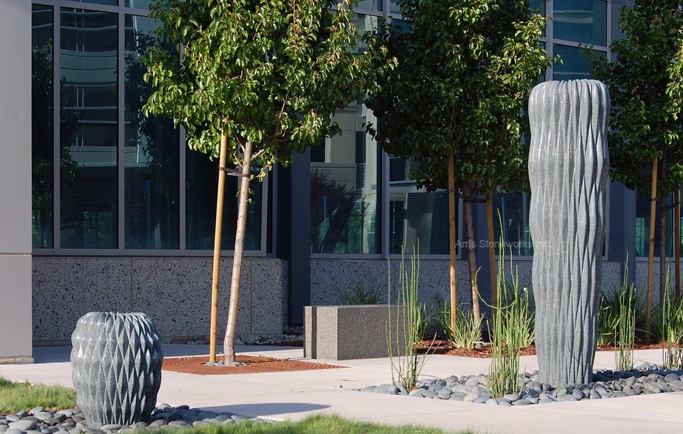 gray granite, stone water feature, stone sculpture, stone bench, landscpae stone, Moffett towers, chinese pillow fountain, stone water fountain, stone water feature, sculpture, stone sculpture