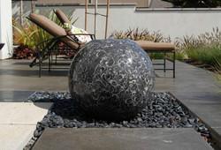 stone water fountain, stone bench