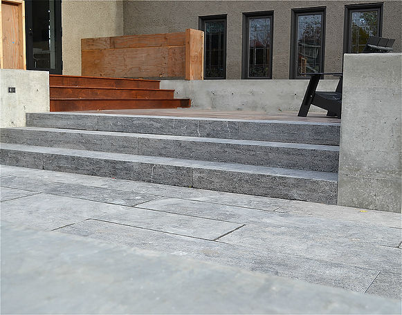 grey limestone, stone stair, stone paver, flamed finish,