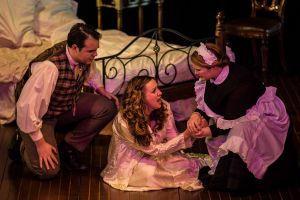 Sam Sakker as Alfredo Germont, Kerry Gill as Violetta and Anna-Louise as Annina, La Traviata, Melbourne Opera 2013