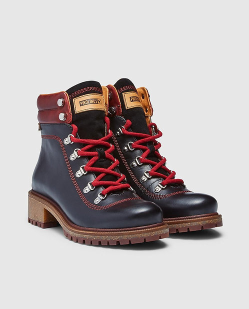 Pikolinos 8634 Black/Red Ankle Boot