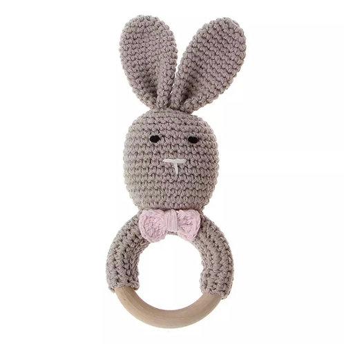 Grey Knit Bunny Teething Rattle