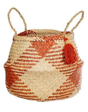 Terracotta Check Basket