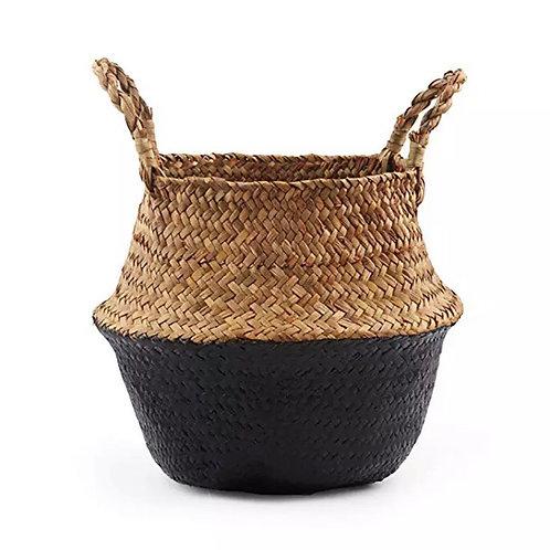 Black + Natural Seagrass Basket