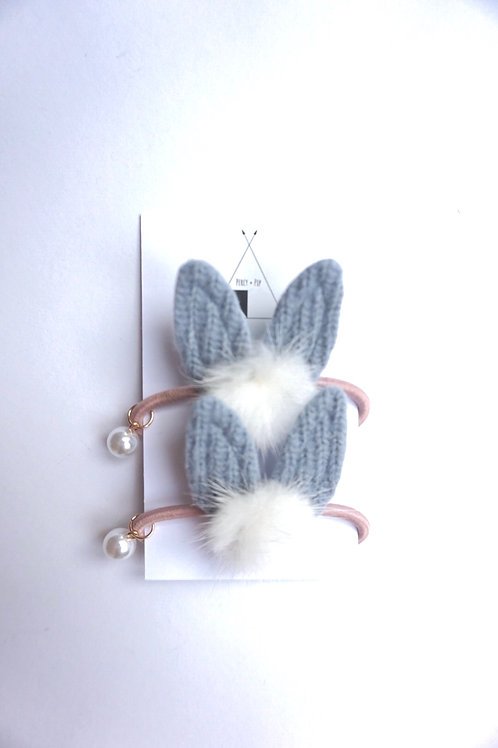 Bunny Ear Bobble 2 Pack Grey