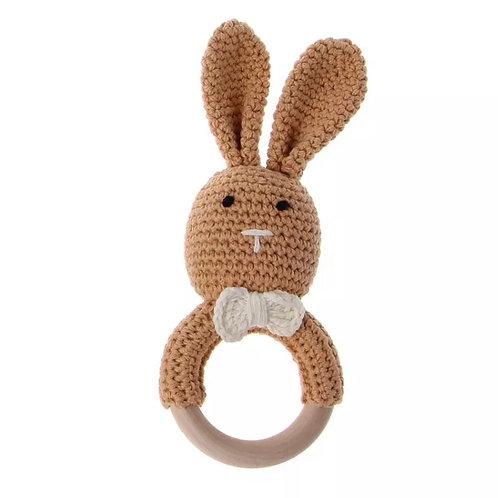 Nude Knit Bunny Teething Rattle