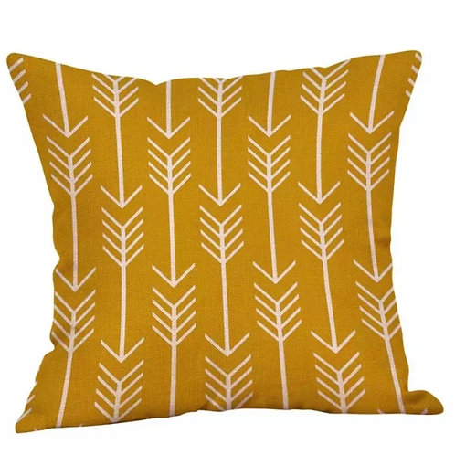 Mustard Arrow Print Cushion Cover