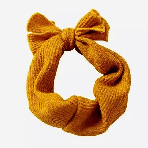 Ribbed Knitted Headband Mustard