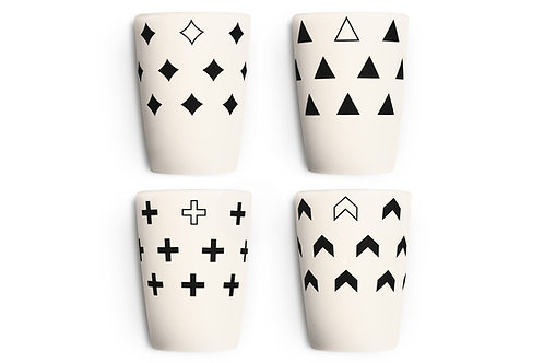 4 Pack Monochrome Cups
