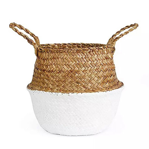 Natural + White Seagrass Basket