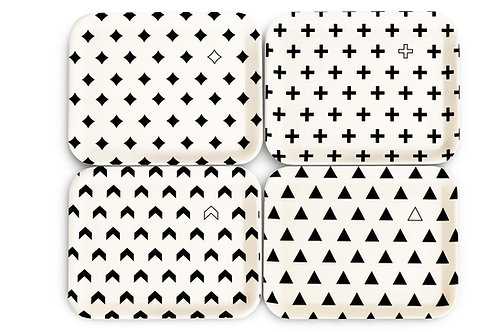 4 Pack Monochrome Dinner Plates