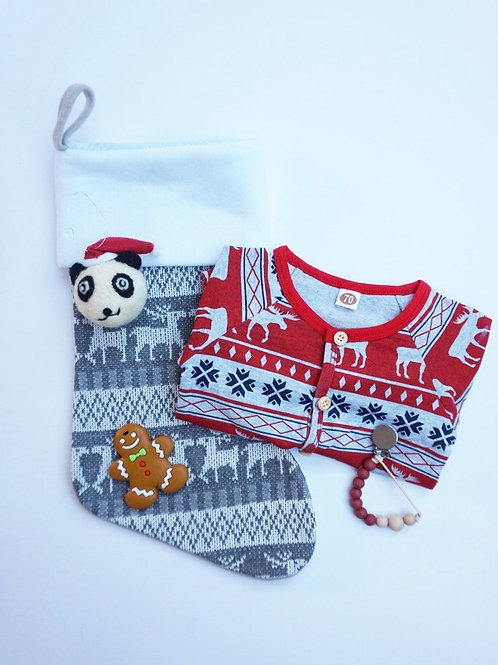 Christmas Stocking Baby Gift Set Red - Gingerbread