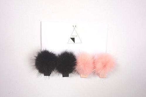 Mini Black X Blush Pom Pom Clips