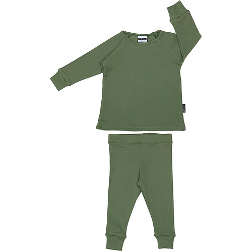 Ribbed Lounge Set Khaki