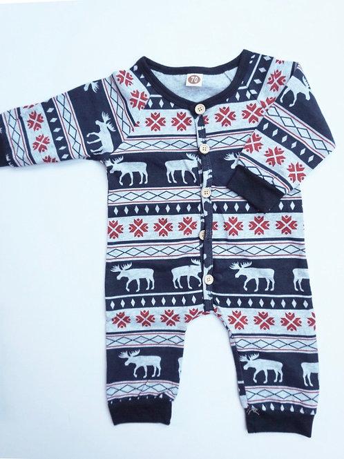 Nordic Christmas Baby Romper Navy