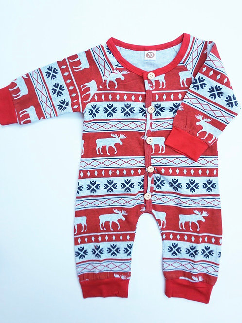 Nordic Christmas Baby Romper Red