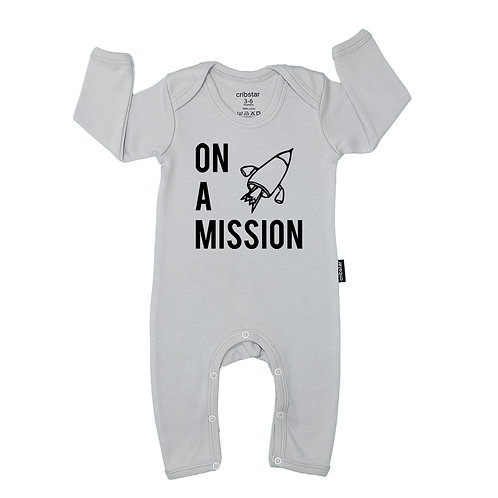 On a Mission Baby Romper Grey