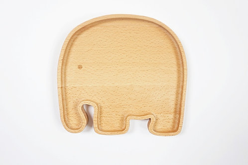 Solid Wood Elephant Plate