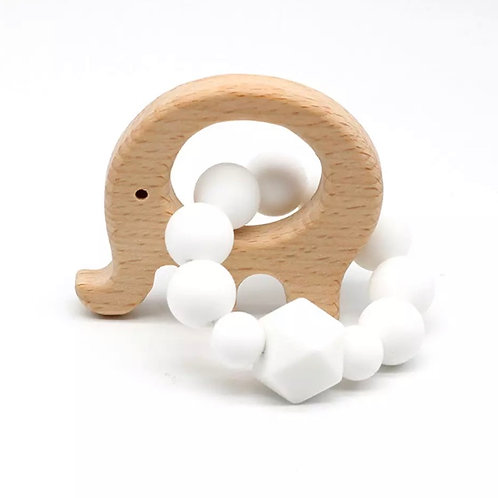 Elephant Wooden Teether White