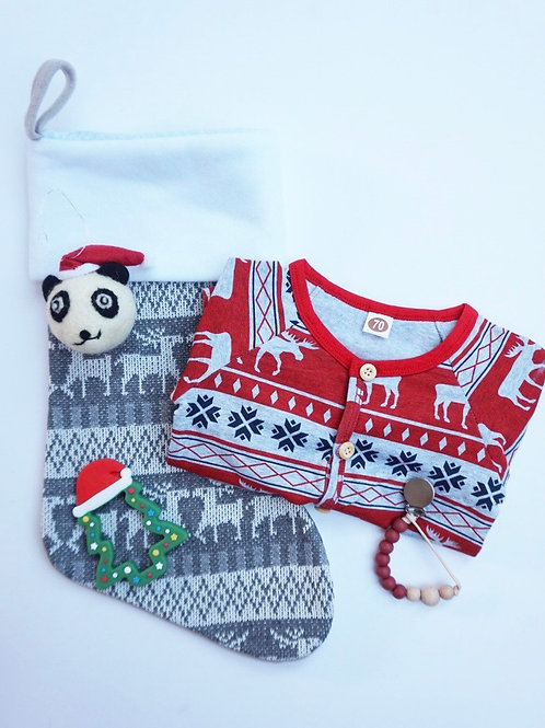 Christmas Stocking Baby Gift Set Red - Xmas Tree