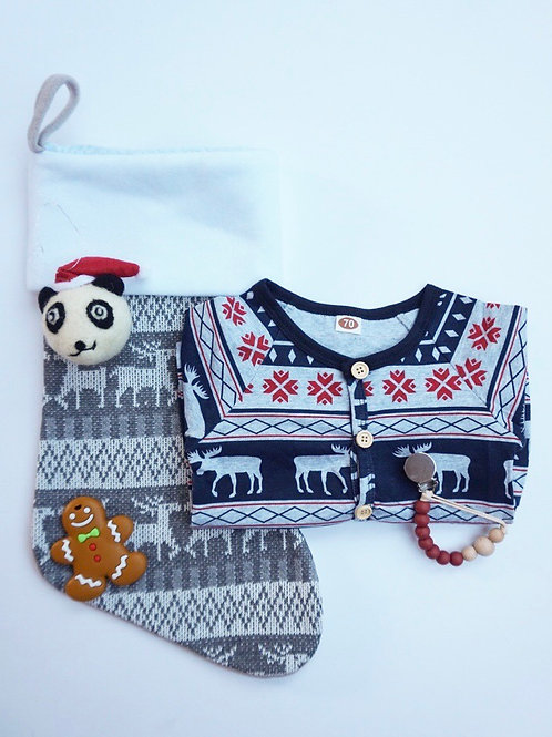 Christmas Stocking Baby Gift Set Navy - Gingerbread