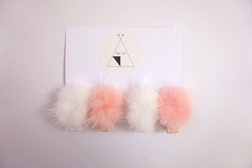 Mini Blush Pom Pom Clips