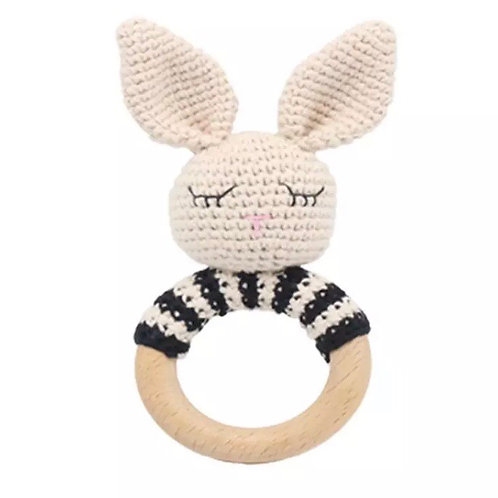 Knitted Sleepy Bunny Teether