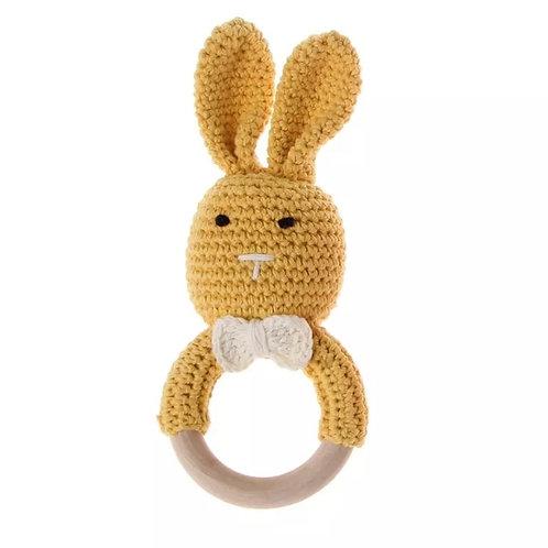 Mustard Knit Bunny Teething Rattle