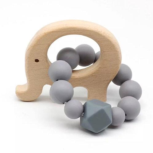 Elephant Wooden Teether Grey