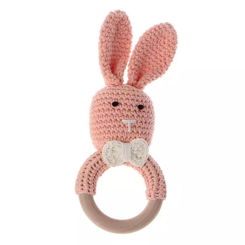 Pink Knit Bunny Teething Rattle