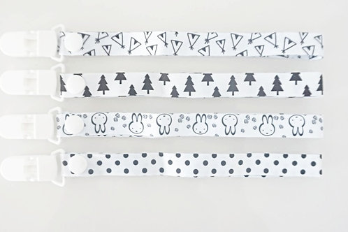 4 Pack Monochrome Pacifier Clips
