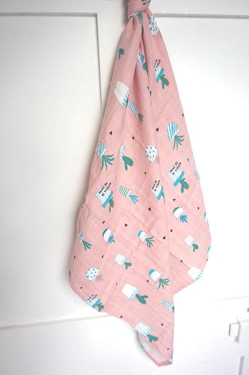 Pink Cactus Print Muslin