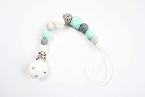Mint + Grey Silicone Beaded Pacifier Clip