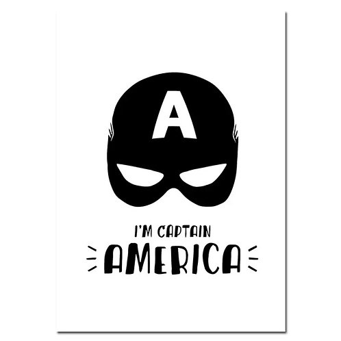 A4 Superhero Captain America Wall Print