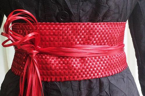 Cinto de fitas tecido em tear manual_vermelho