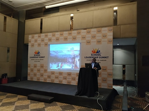 Dr. Atul Nischal, Founder Director,  ICSL addressing school leaders at  ICSL Mylestone School Leadership Summit, Chandigarh