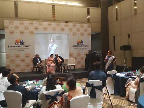 Ms. Vandana Saxena, Principal, Tribune Model School addressing school leaders