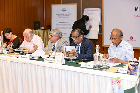 (L- R) Ms. Sangeeta D. Krishan, Mr. Suraj Prakash, Dr. Atul Nischal & Mr. G. Balasubramanian & Mr. S. L. Jain going though NEP 2019 (Draft)