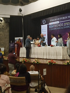 Dr. Atul Nischal, Founder-Director, ICSL presenting LEAD the Change  Anthology to Prof. Ved Prakash, Former Chairman, University Grant Commission at Forum of Public Schools, Annual Conference, July 20, 2019, India International Centre, New Delhi.