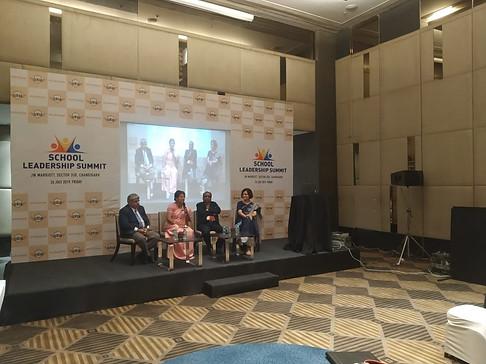 (L-R) Dr. Atul Nischal, Founder Director ICSL, Ms. Lalita Kanwar, Principal, La Montessori School, Kullu, Mr. G. Balasubramanian, Chairperson, Board of Advisors, ICSL, Ms. Vandana Saxena, Principal, Tribune  Model School, Chandigarh at ICSL Mylestone School Leadership Summit, Chandigarh