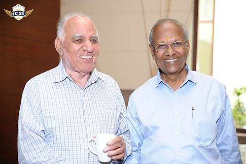 (L-R) Mr. Suraj Prakash, Mr. S. L. Jain, Director, Mahavir Senior Model School, Delhi