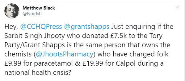 £20 Baby Medicine Profiteer Is Tory Donor
