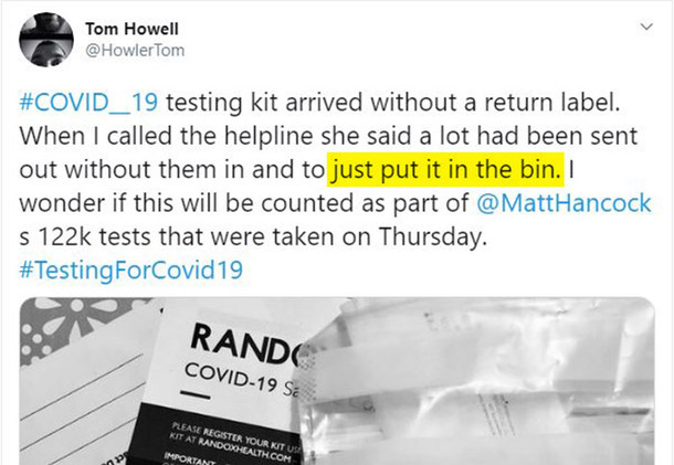 """Covid Home Tests Arrive Without Return Labels - Official Response? """"Throw Them Away"""""""