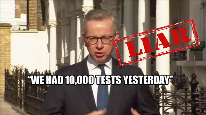 Gove's 'We Had 10,000 Tests Yesterday' Lie - Actually LESS Than The Three Previous Days
