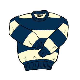 Rugby Crew Neck  Ink / Seashell