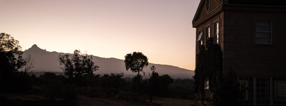 View of the mountain from the house in the morning