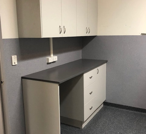 Storage Cabinet Bench with Overheads