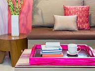 Modern living room with sofa and cup of