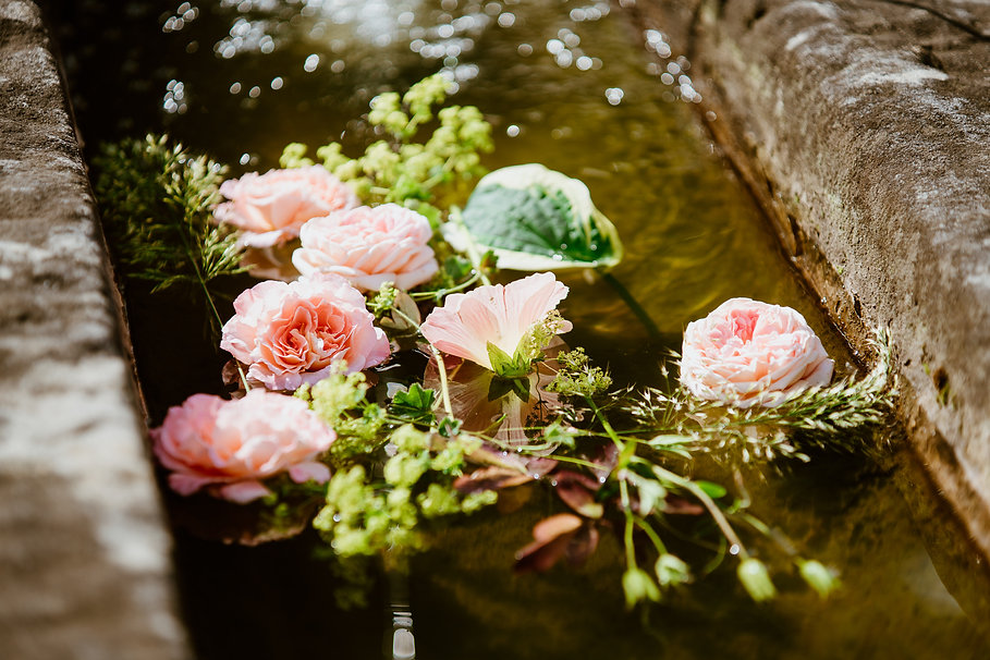 Maya Baer Blumenkurs Lindenhof Blumen im Brunnen